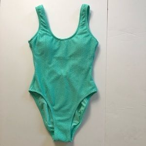 Hula Honey teal low back one piece swimsuit